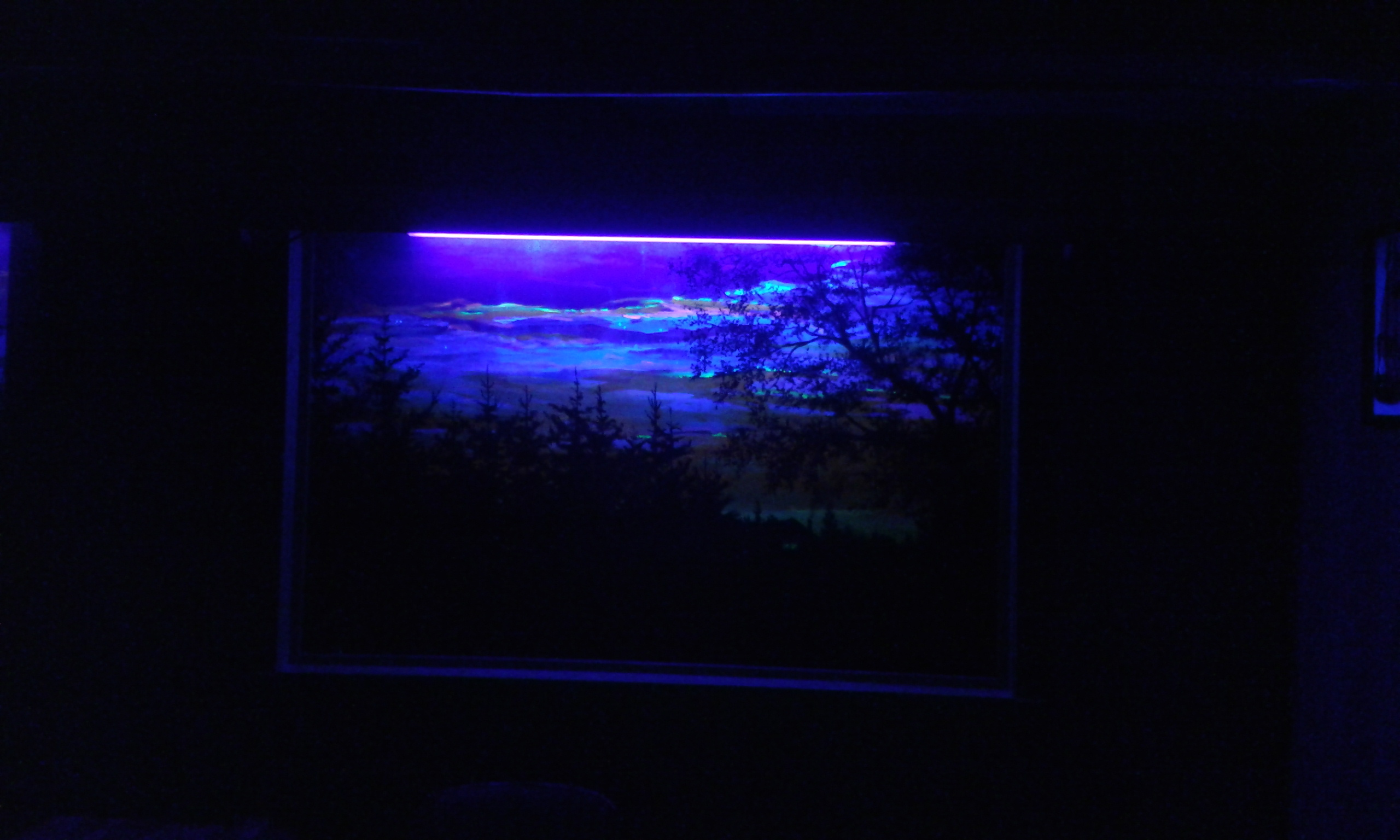 Jim's painting under a black light.